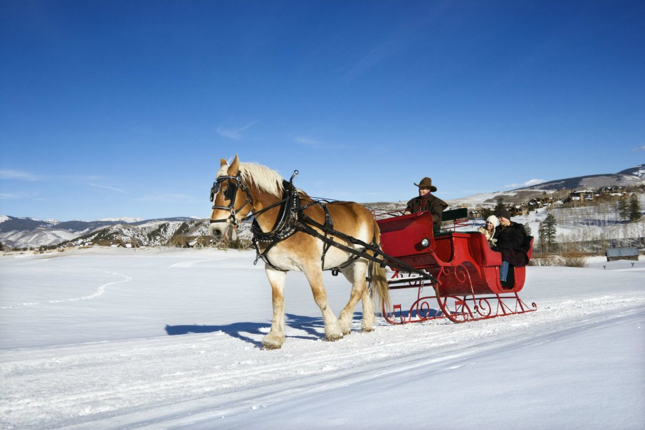 People Taking a Sleigh Ride in Breckenridge